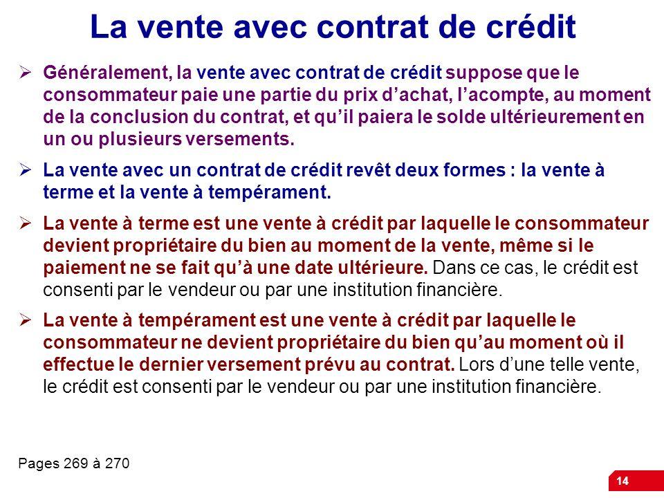 La vente avec contrat de crédit