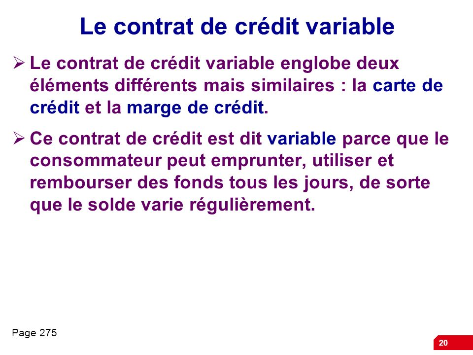 Le contrat de crédit variable