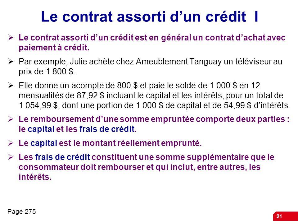 Le contrat assorti d'un crédit I