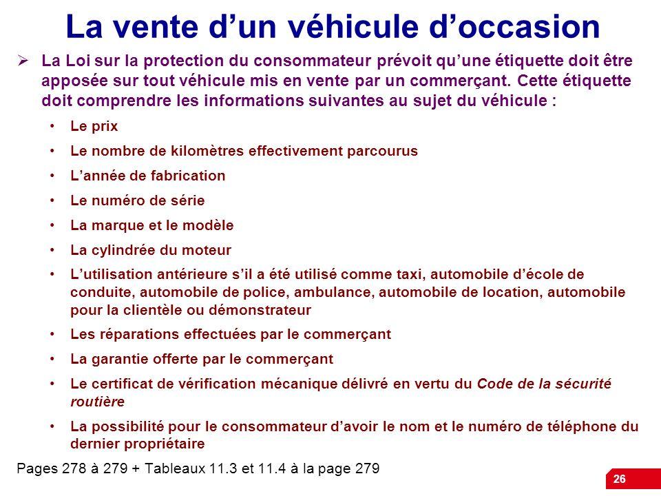 La vente d'un véhicule d'occasion