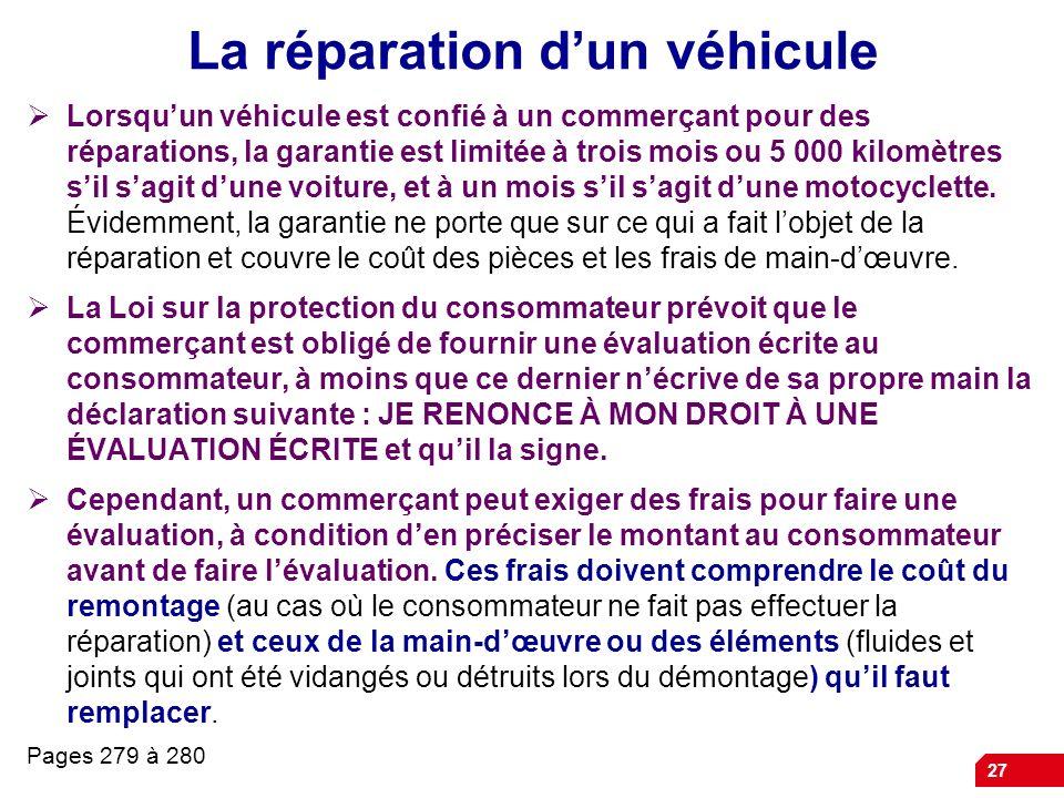 La réparation d'un véhicule