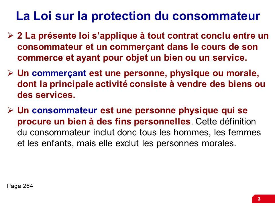 La Loi sur la protection du consommateur