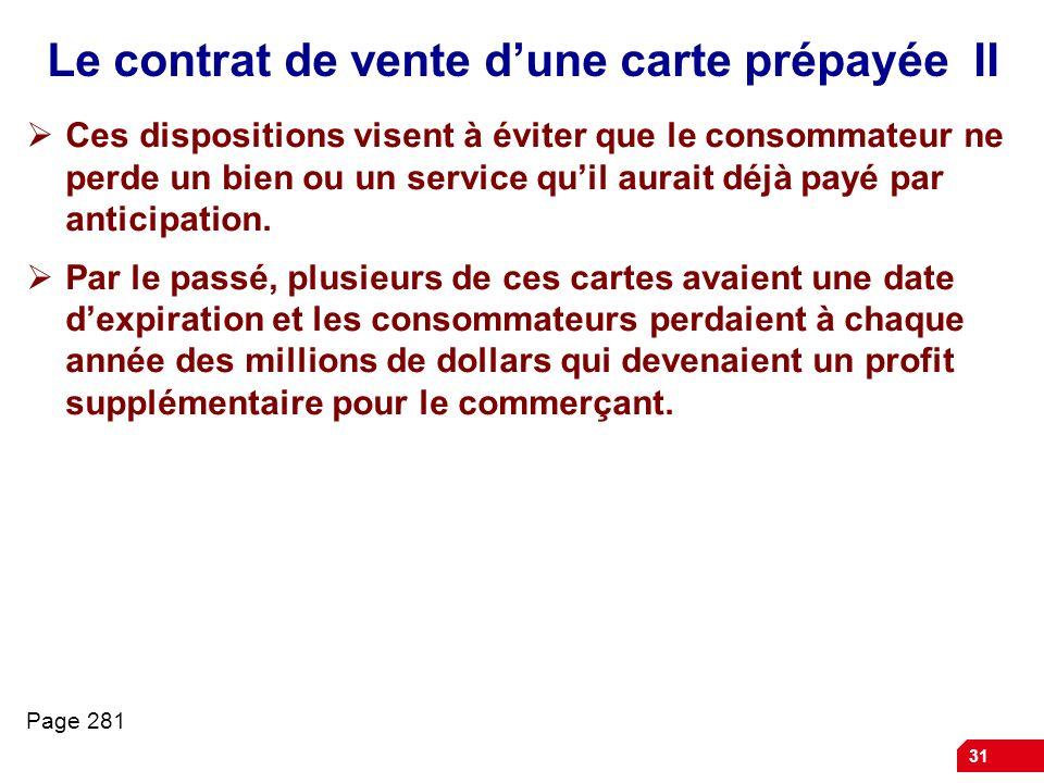 Le contrat de vente d'une carte prépayée II