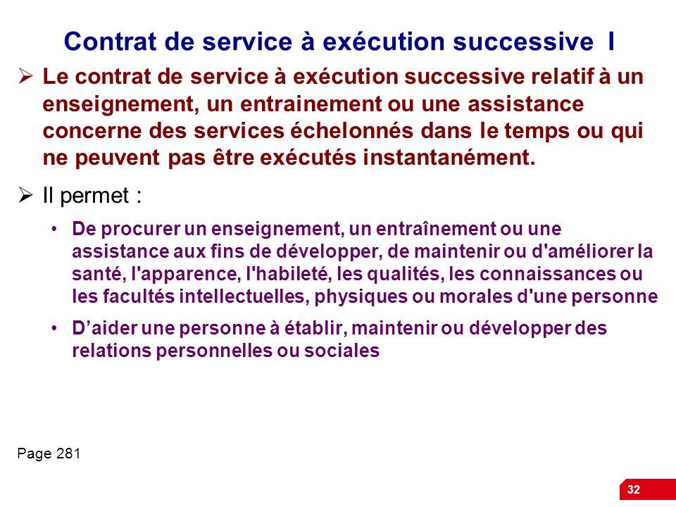 Contrat de service à exécution successive I