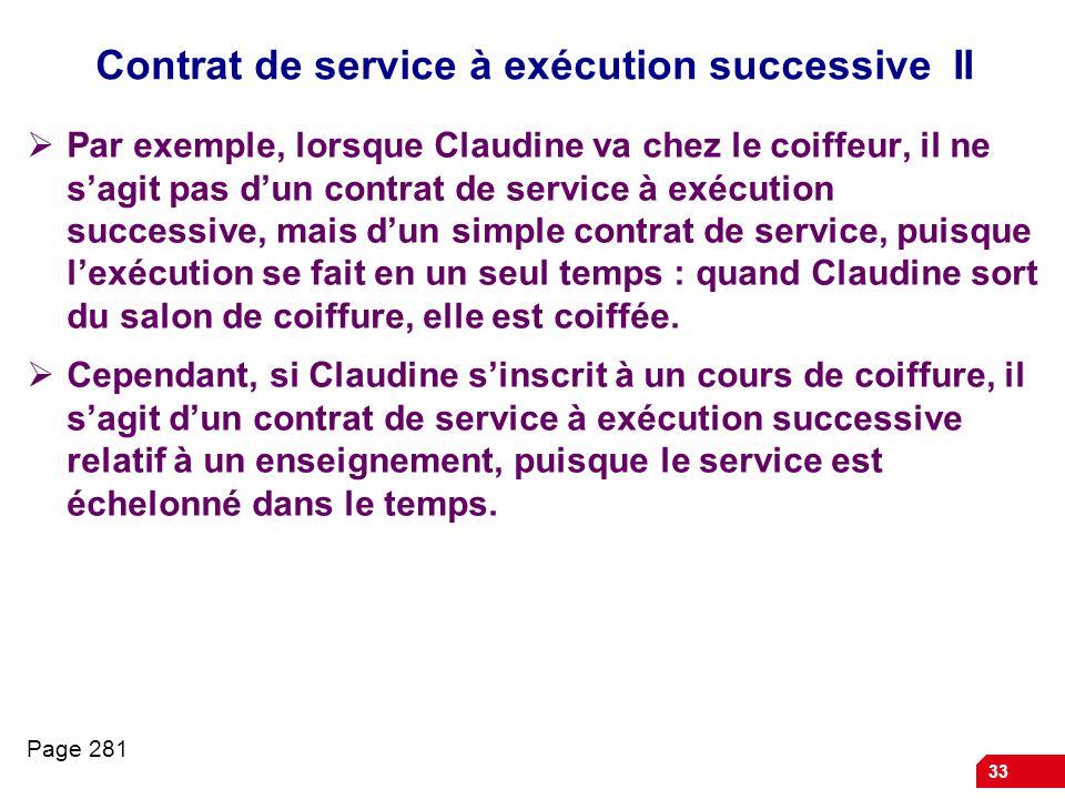Contrat de service à exécution successive II