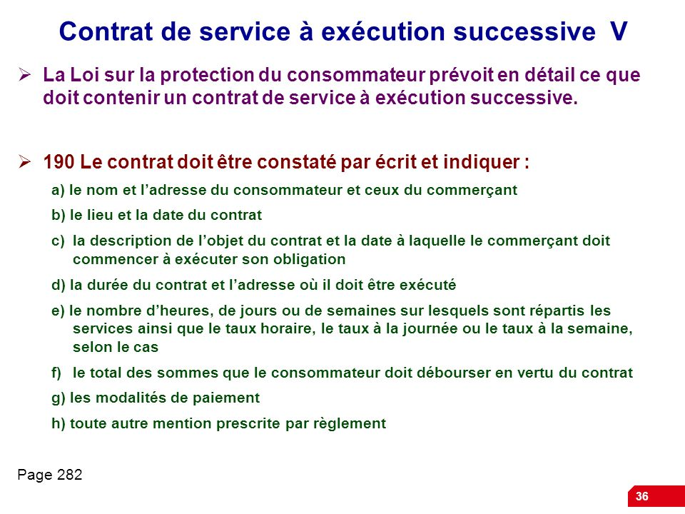 Contrat de service à exécution successive V