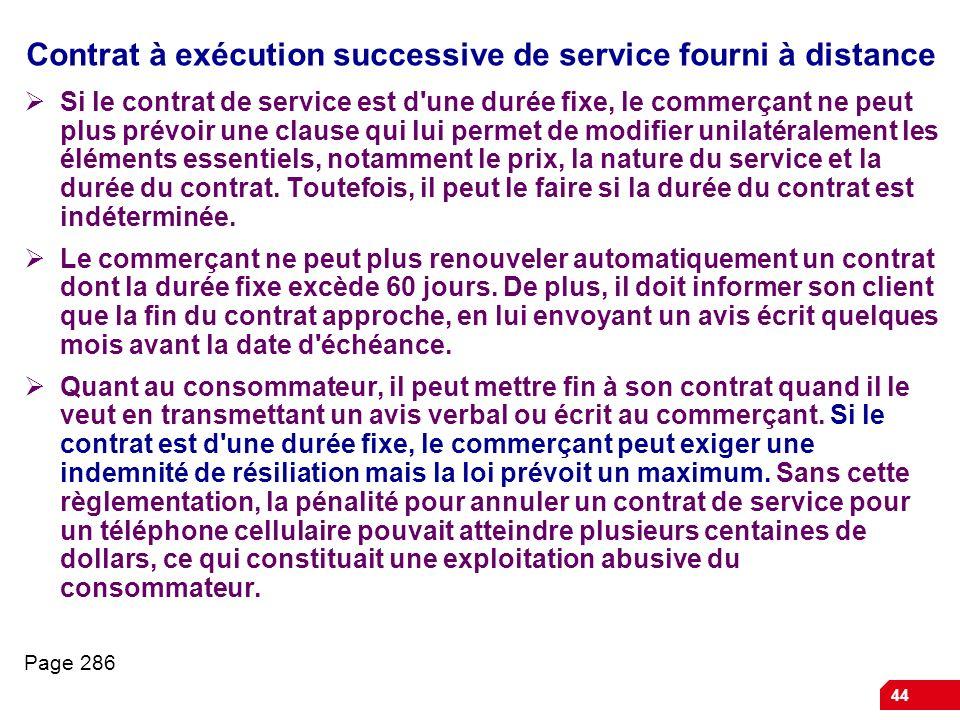 Contrat à exécution successive de service fourni à distance