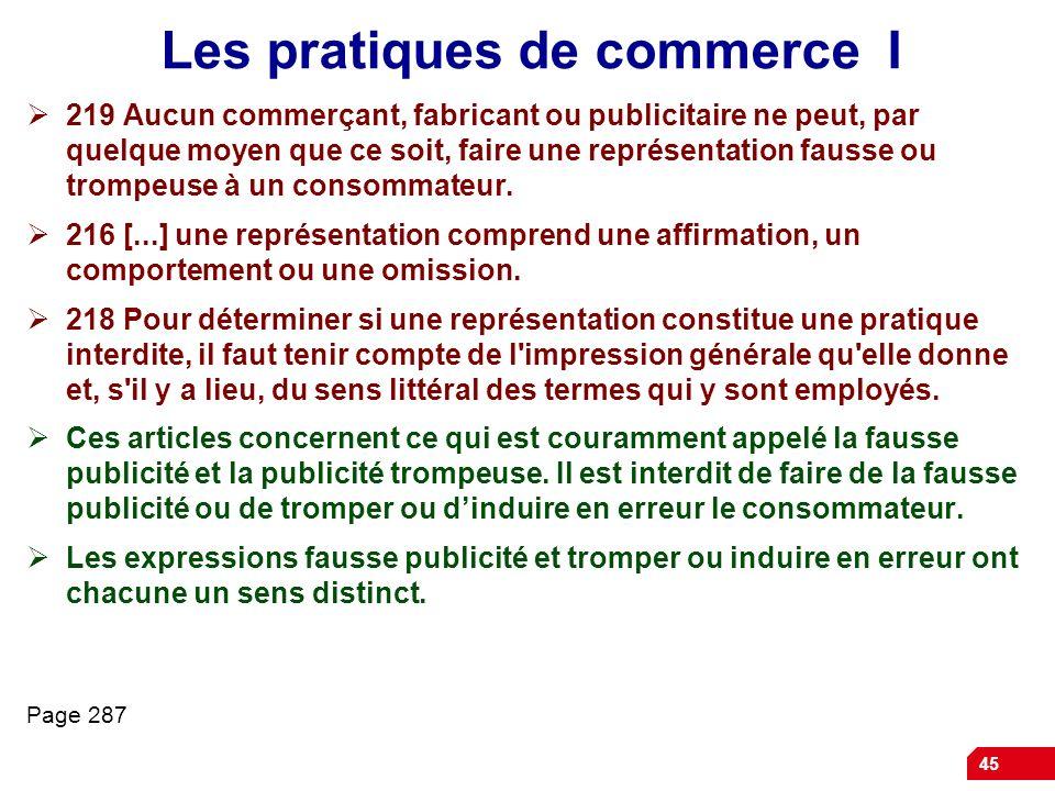Les pratiques de commerce I