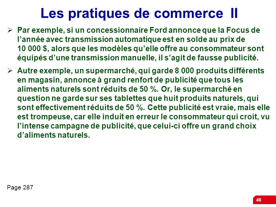 Les pratiques de commerce II