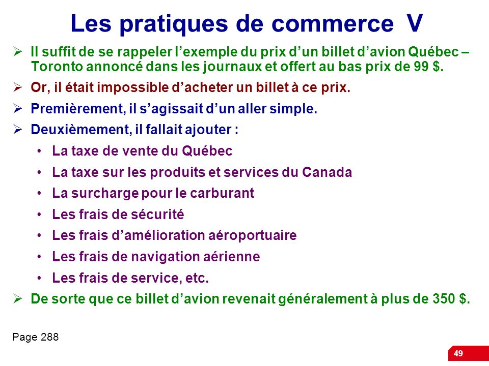 Les pratiques de commerce V