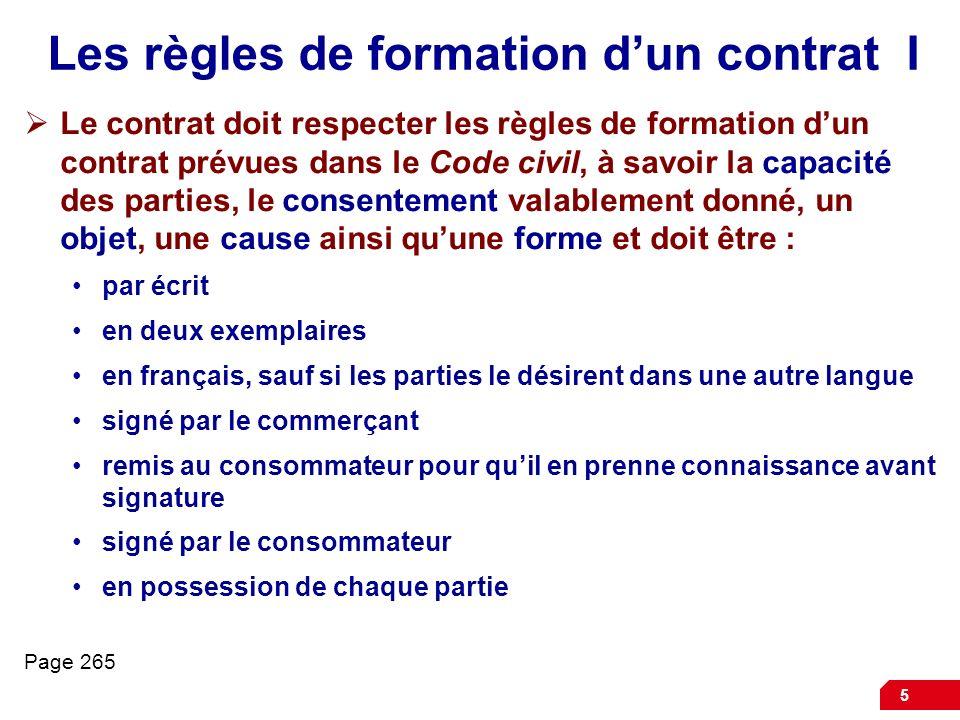 Les règles de formation d'un contrat I
