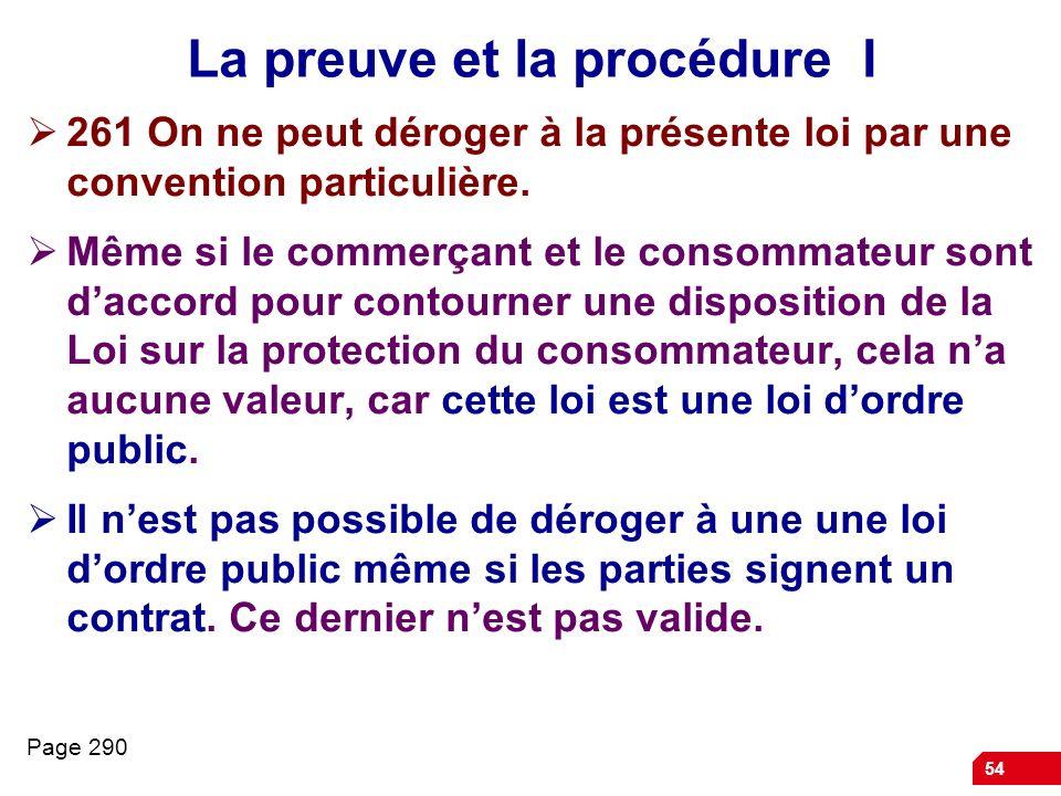 La preuve et la procédure I