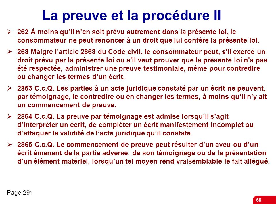 La preuve et la procédure II