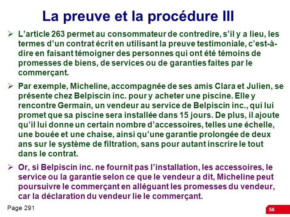 La preuve et la procédure III