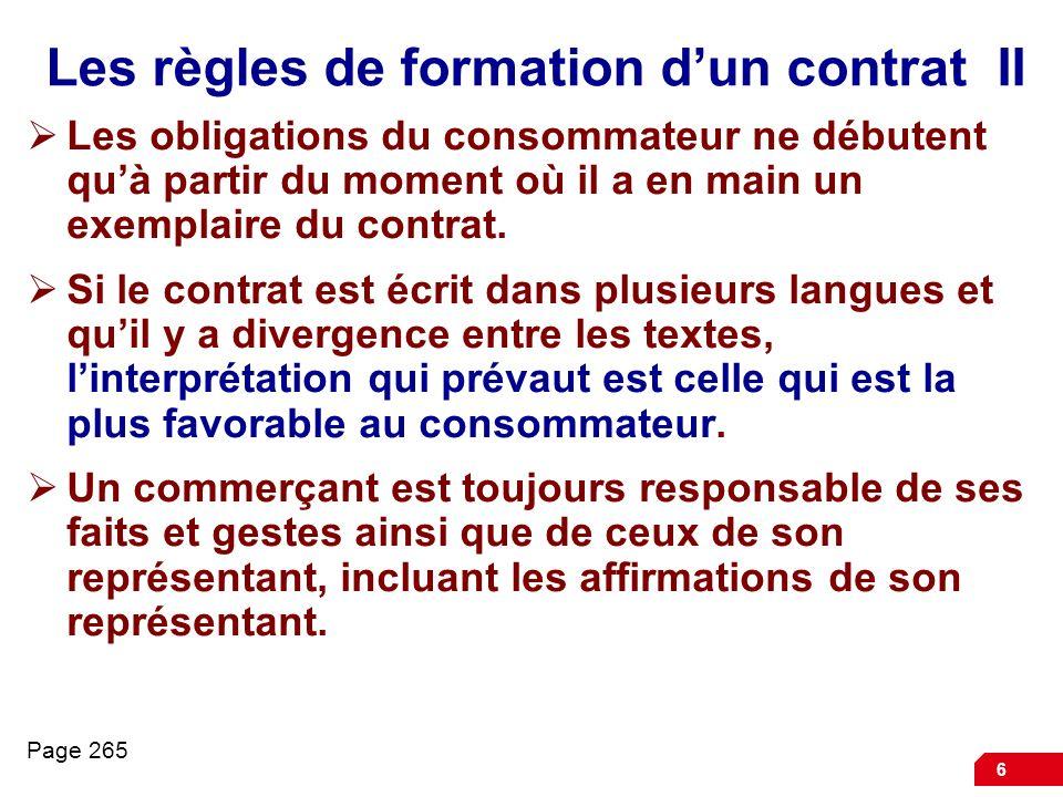 Les règles de formation d'un contrat II