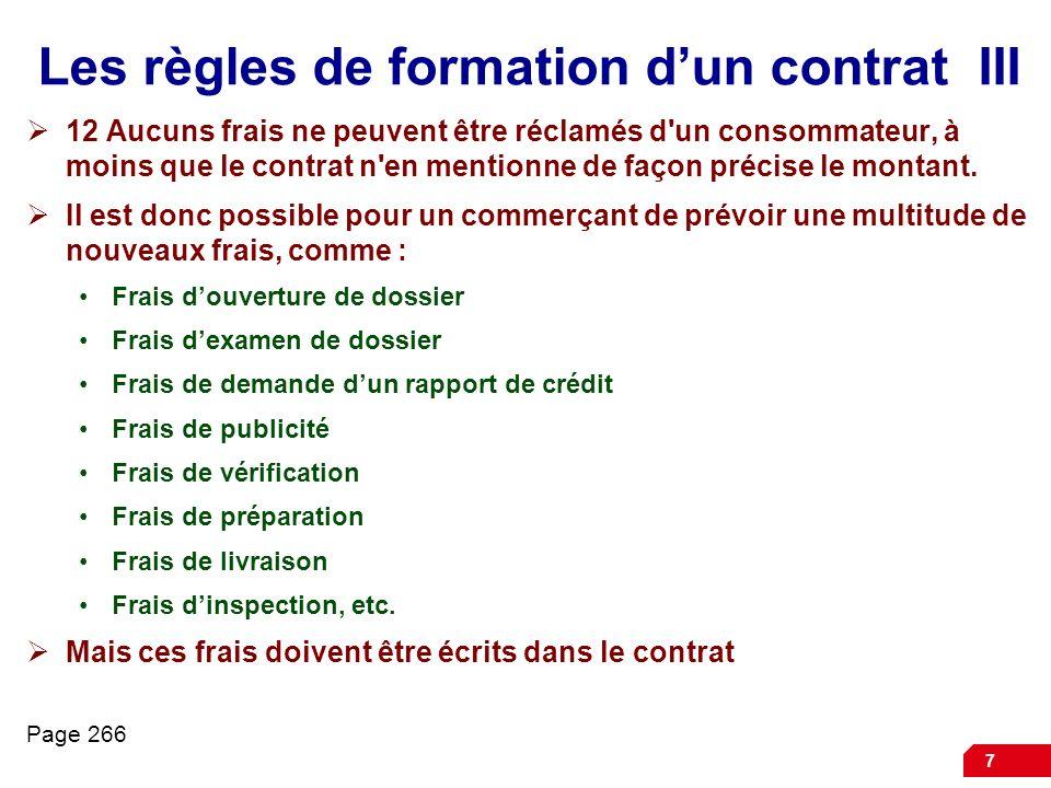 Les règles de formation d'un contrat III