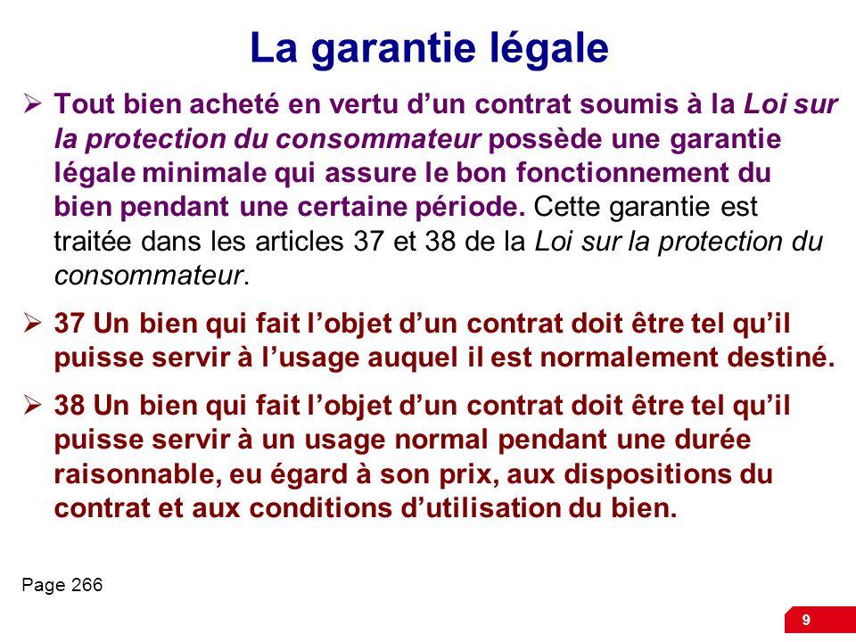 La garantie légale