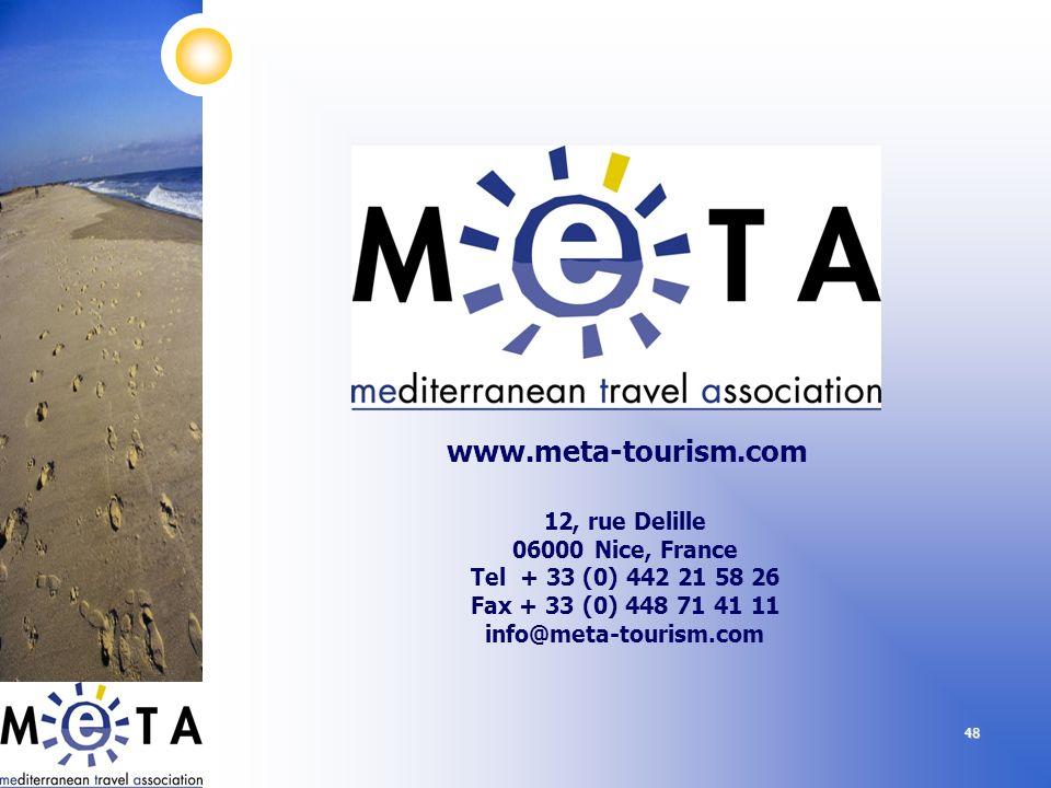 www.meta-tourism.com 12, rue Delille 06000 Nice, France Tel + 33 (0) 442 21 58 26 Fax + 33 (0) 448 71 41 11 info@meta-tourism.com.