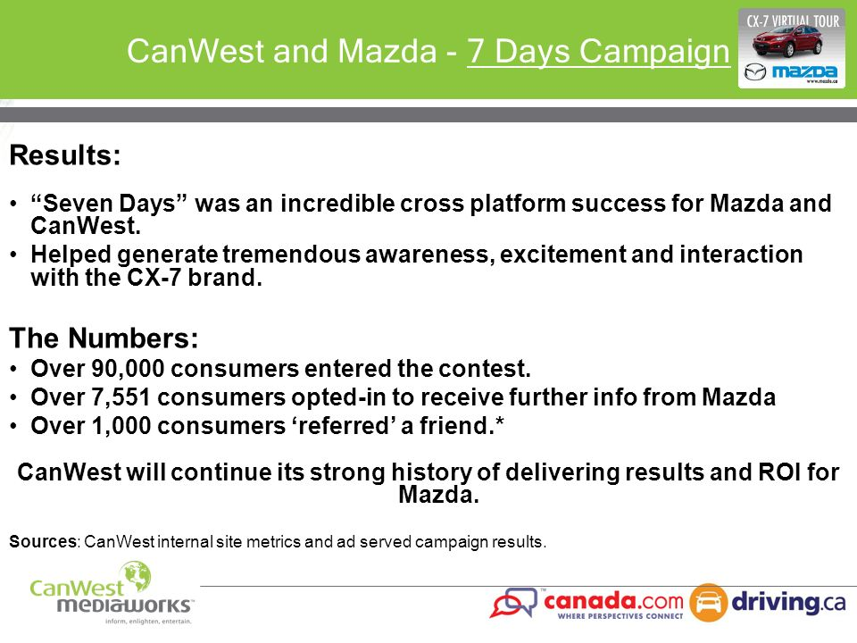 CanWest and Mazda - 7 Days Campaign
