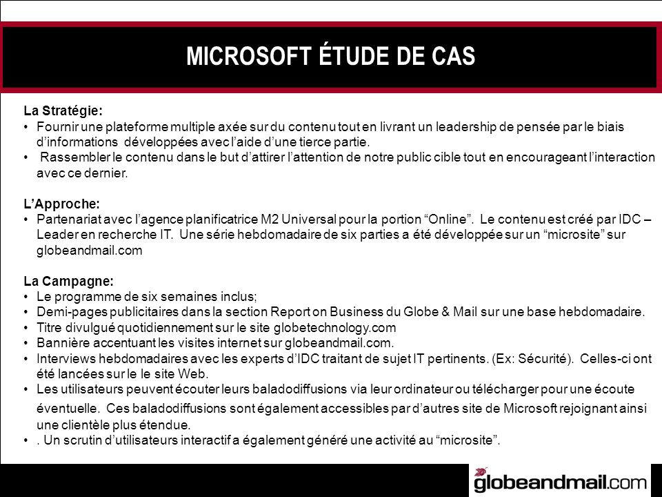 MICROSOFT ÉTUDE DE CAS La Stratégie: