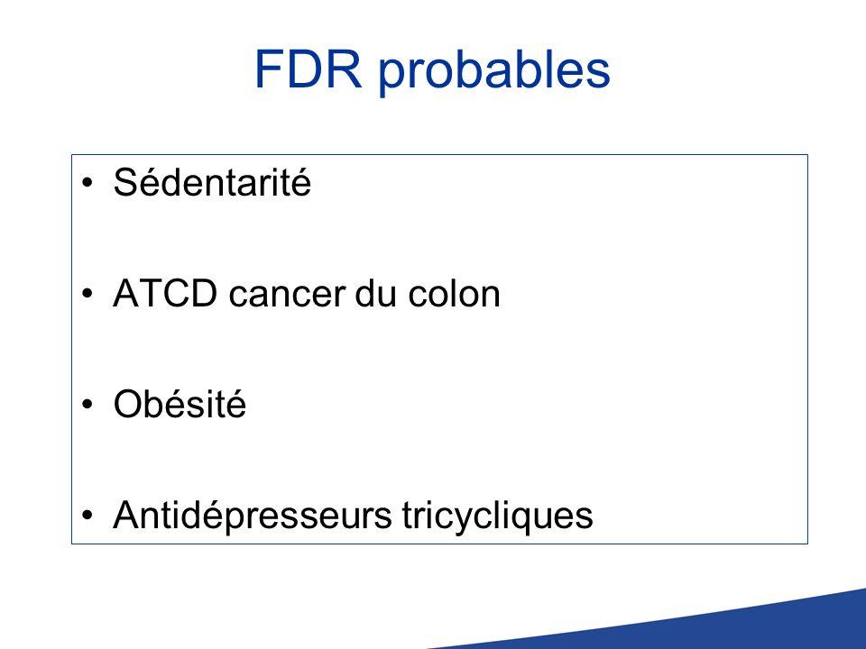 FDR probables Sédentarité ATCD cancer du colon Obésité