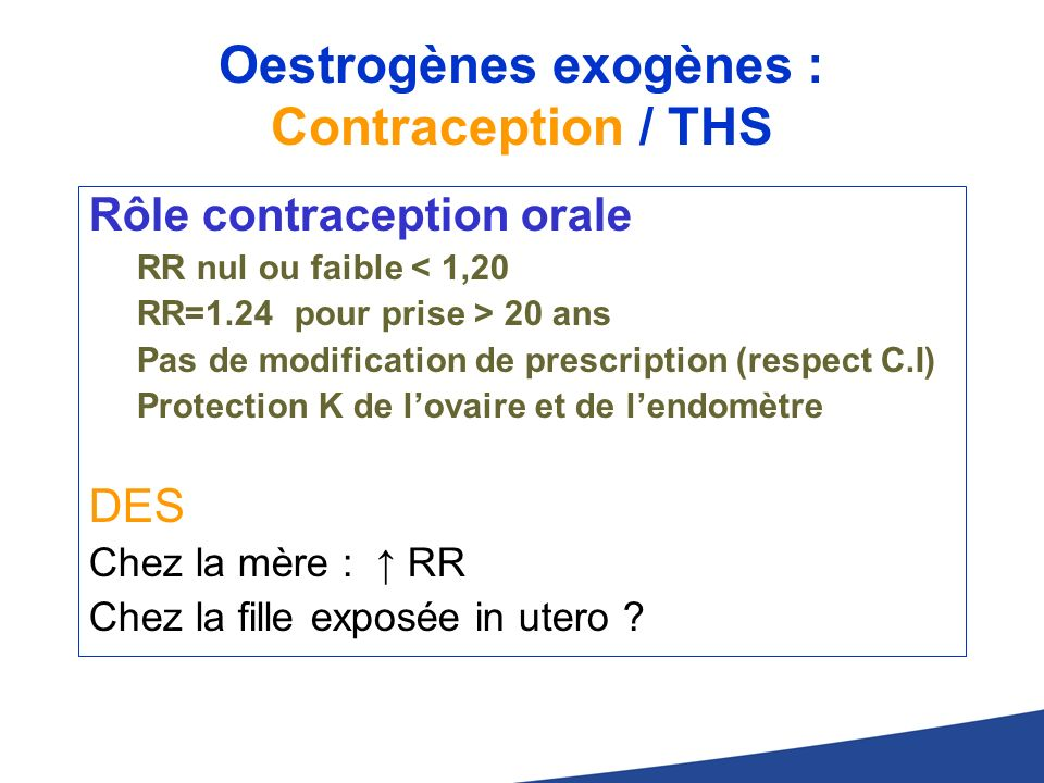 Oestrogènes exogènes : Contraception / THS