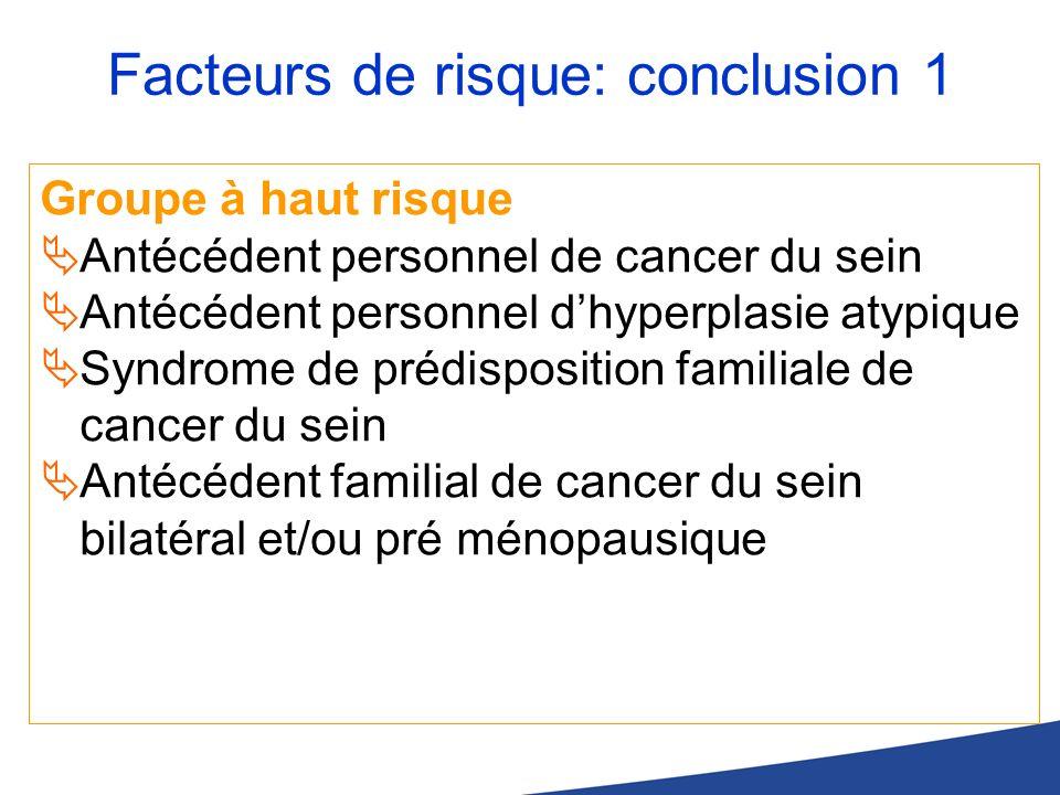 Facteurs de risque: conclusion 1