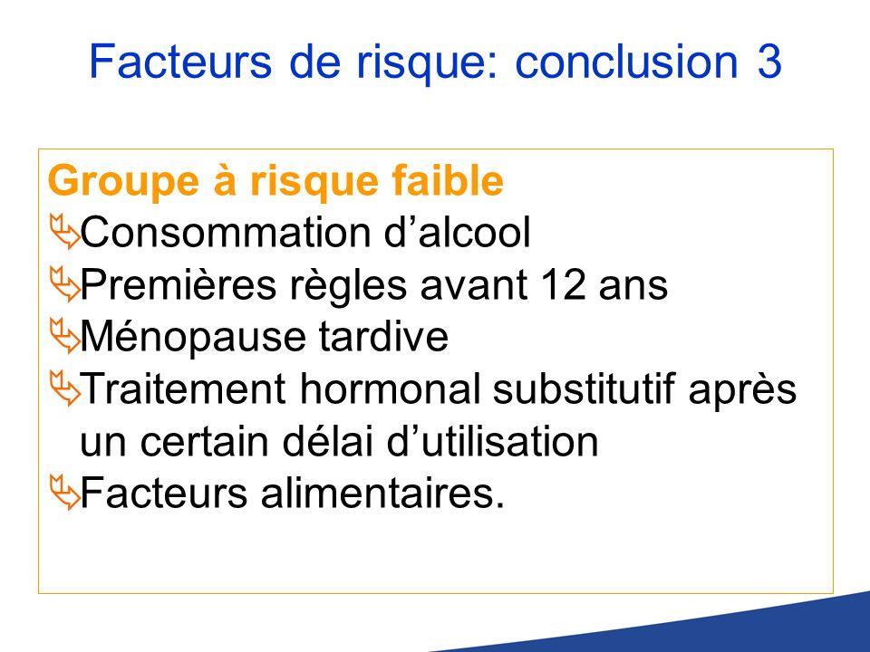 Facteurs de risque: conclusion 3