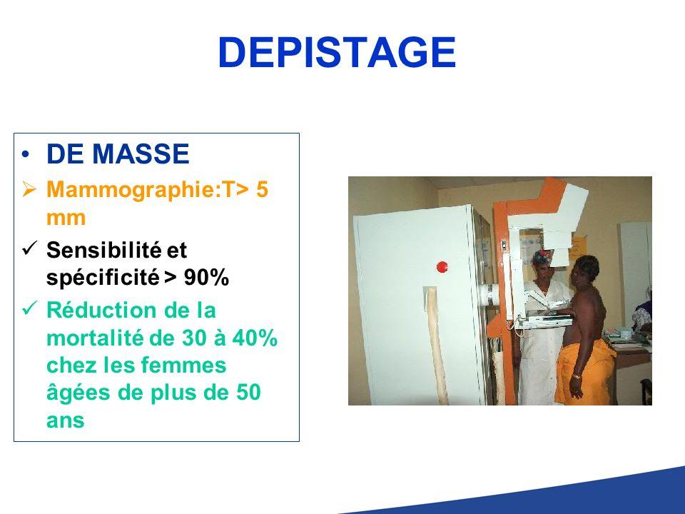DEPISTAGE DE MASSE Mammographie:T> 5 mm