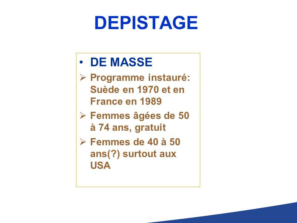 DEPISTAGE DE MASSE. Programme instauré: Suède en 1970 et en France en 1989. Femmes âgées de 50 à 74 ans, gratuit.