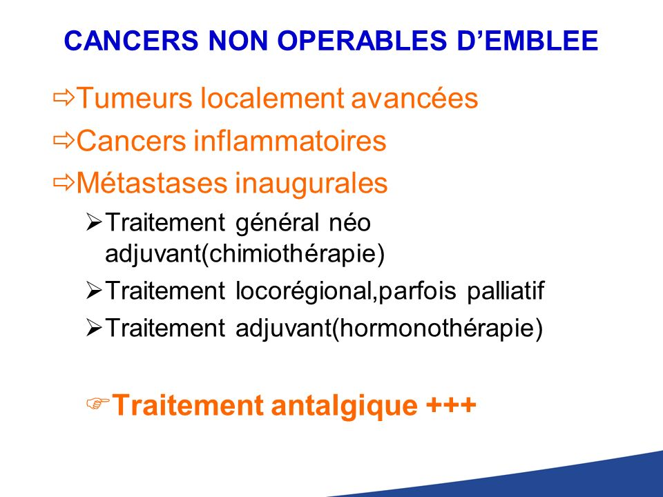 CANCERS NON OPERABLES D'EMBLEE