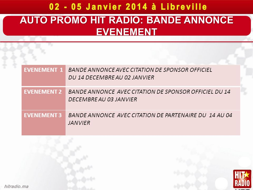 AUTO PROMO HIT RADIO: BANDE ANNONCE EVENEMENT
