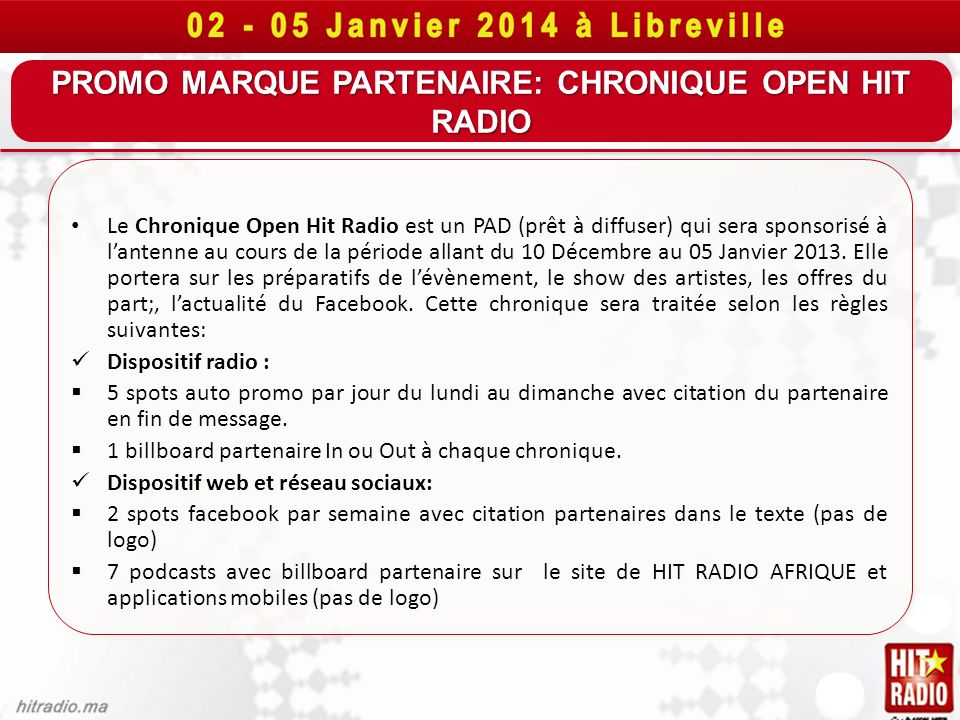 PROMO MARQUE PARTENAIRE: CHRONIQUE OPEN HIT RADIO