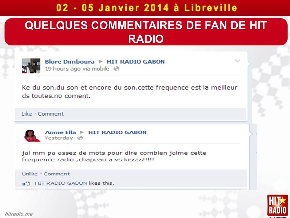 QUELQUES COMMENTAIRES DE FAN DE HIT RADIO
