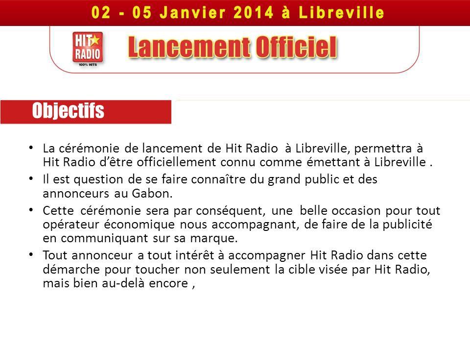 Objectifs La cérémonie de lancement de Hit Radio à Libreville, permettra à Hit Radio d'être officiellement connu comme émettant à Libreville .