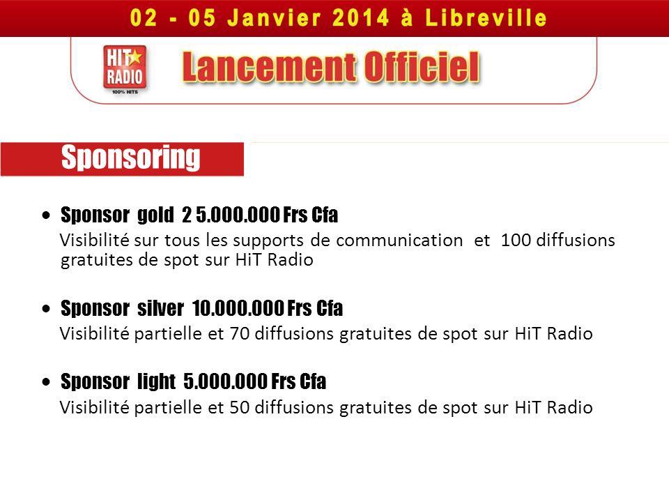Sponsoring Sponsor gold 2 5.000.000 Frs Cfa