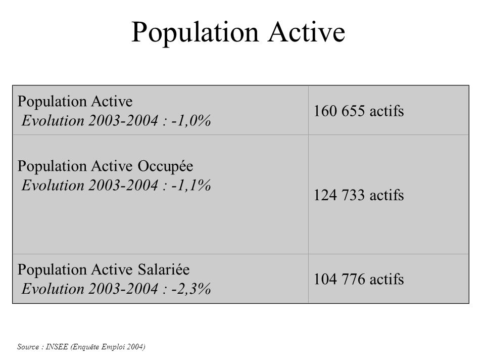 Population Active Population Active Evolution 2003-2004 : -1,0%