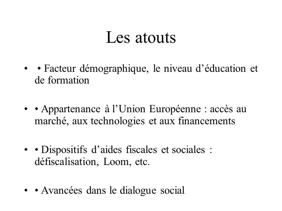 Les atouts • Facteur démographique, le niveau d'éducation et de formation.