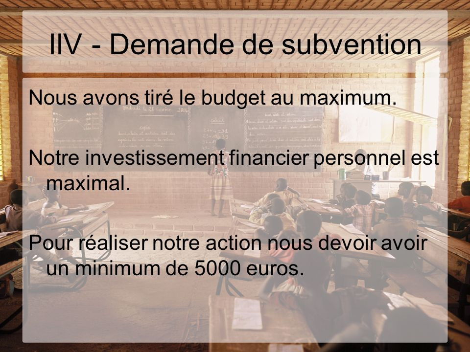 IIV - Demande de subvention