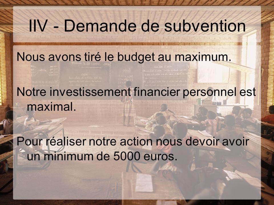IIV - Demande de subvention
