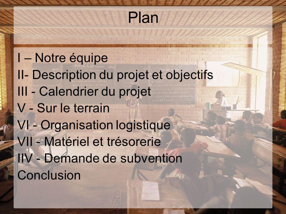Plan I – Notre équipe II- Description du projet et objectifs