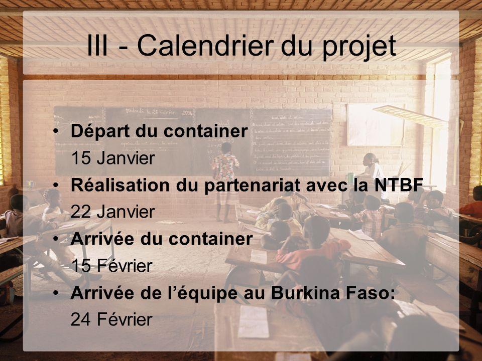 III - Calendrier du projet