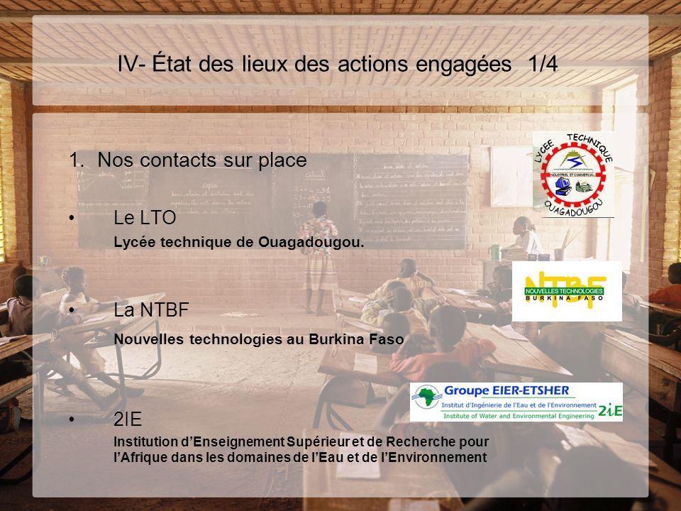 IV- État des lieux des actions engagées 1/4