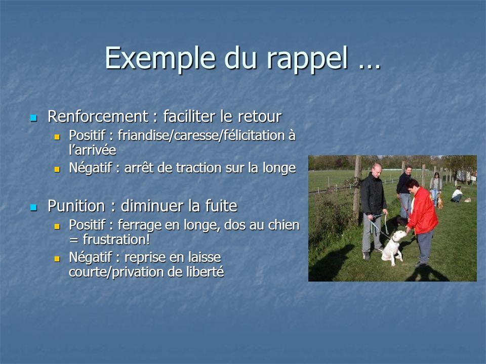 Exemple du rappel … Renforcement : faciliter le retour