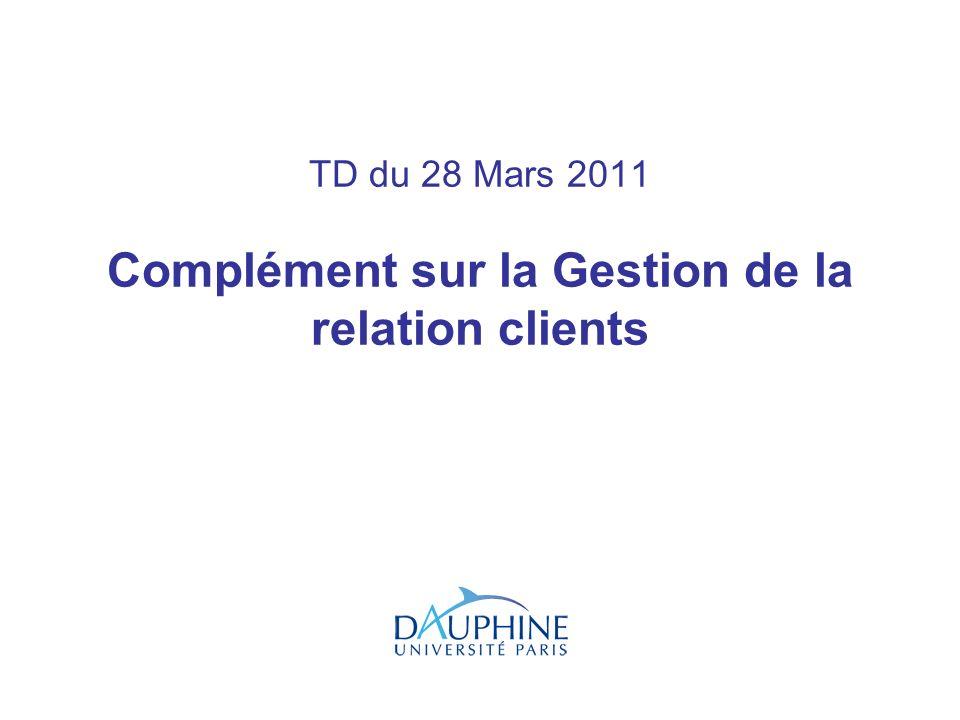 TD du 28 Mars 2011 Complément sur la Gestion de la relation clients
