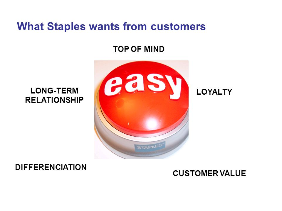 What Staples wants from customers