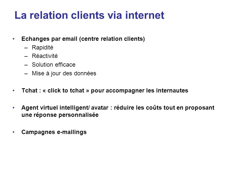 La relation clients via internet