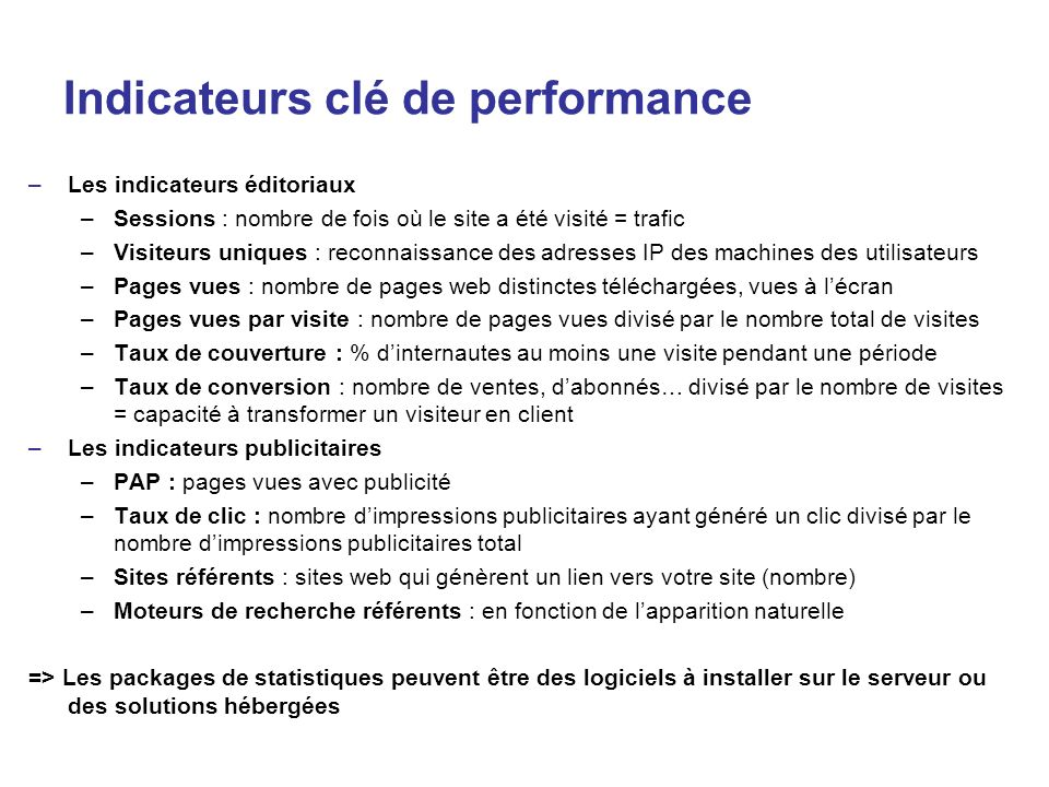 Indicateurs clé de performance