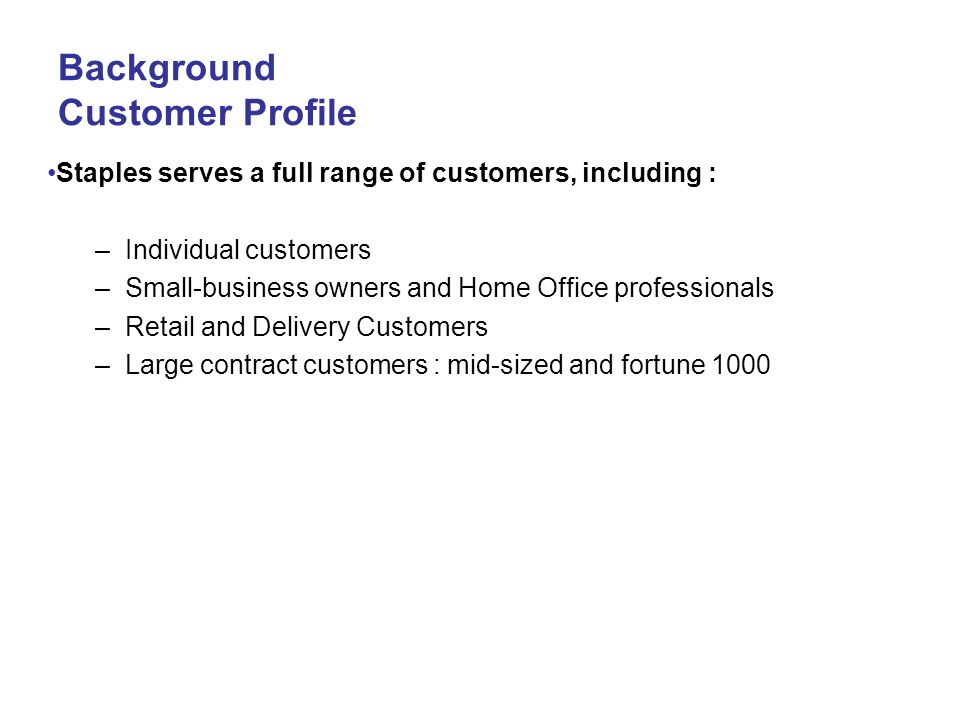 Background Customer Profile