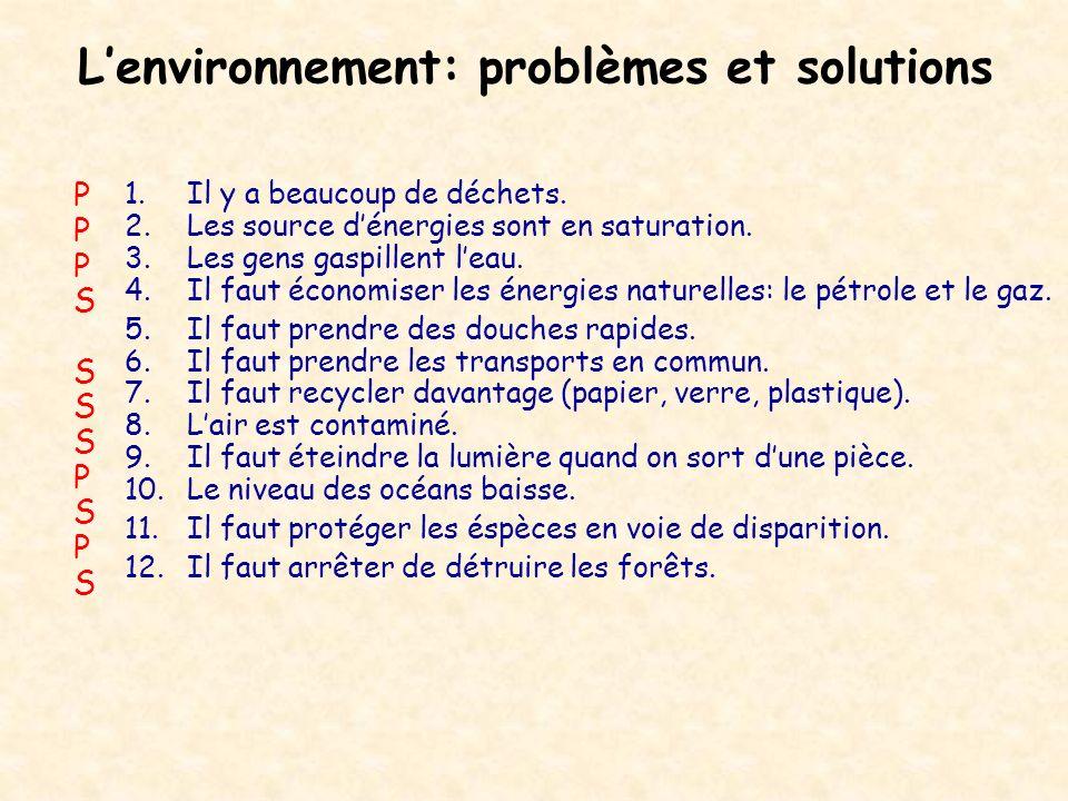 L'environnement: problèmes et solutions